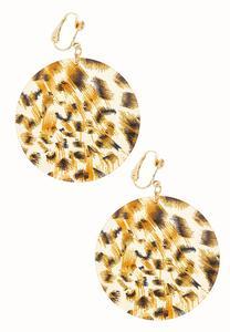 Leopard Disc Clip-On Earrings