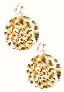 Leopard Disc Clip-On Earrings