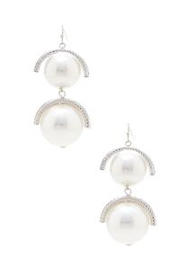 Tiered Rhinestone Pearl Earrings