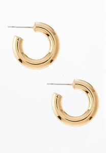 Gold Metal Hoop Earrings