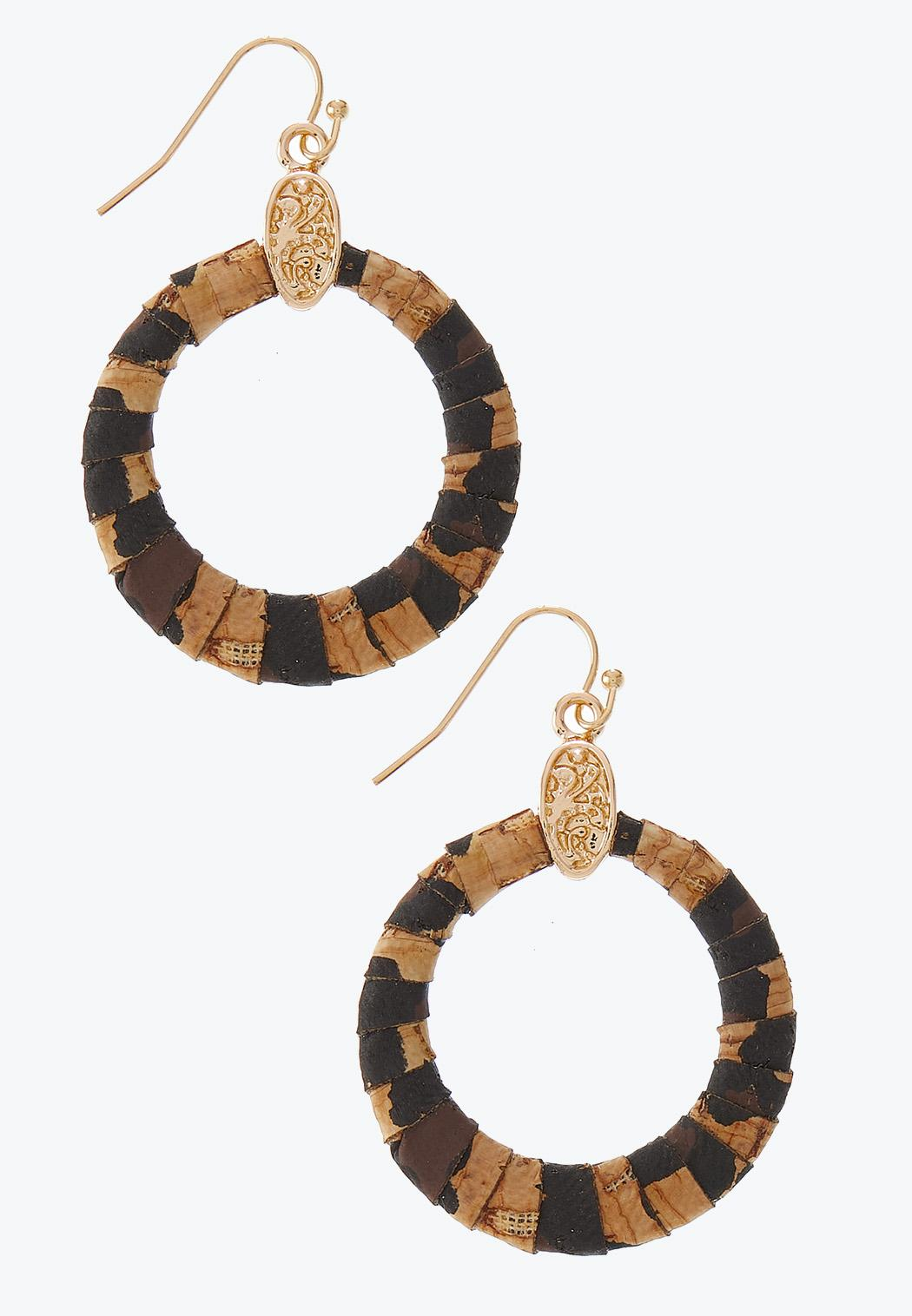Leopard Cork Ring Earrings