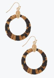 Leopard Cork Ring Earrings
