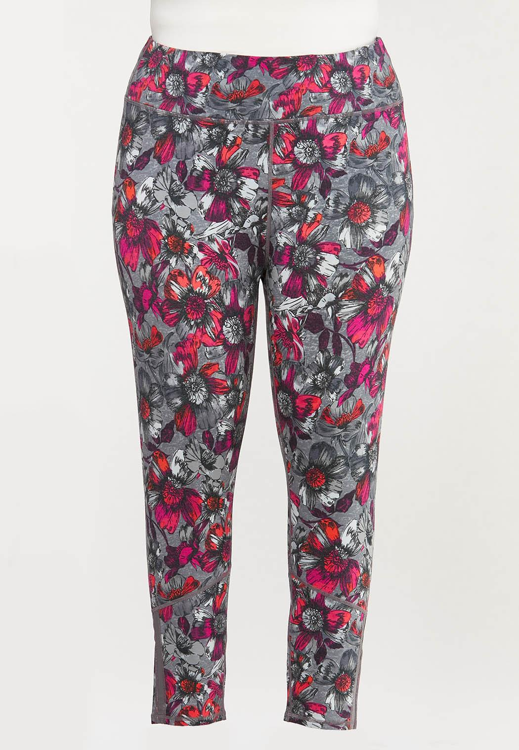 Plus Size Fuchsia Sketch Floral Leggings