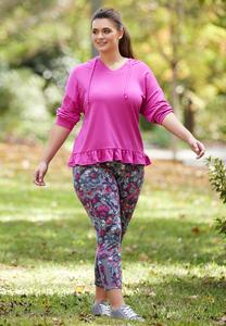 Plus Size Fuchsia Sketch Floral Leggings