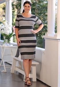 Plus Size Striped Midi Sweater Dress