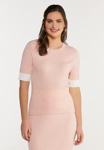 Plus Size Contrast Ribbed Sweater