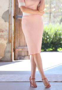 Plus Size Ribbed Midi Sweater Skirt