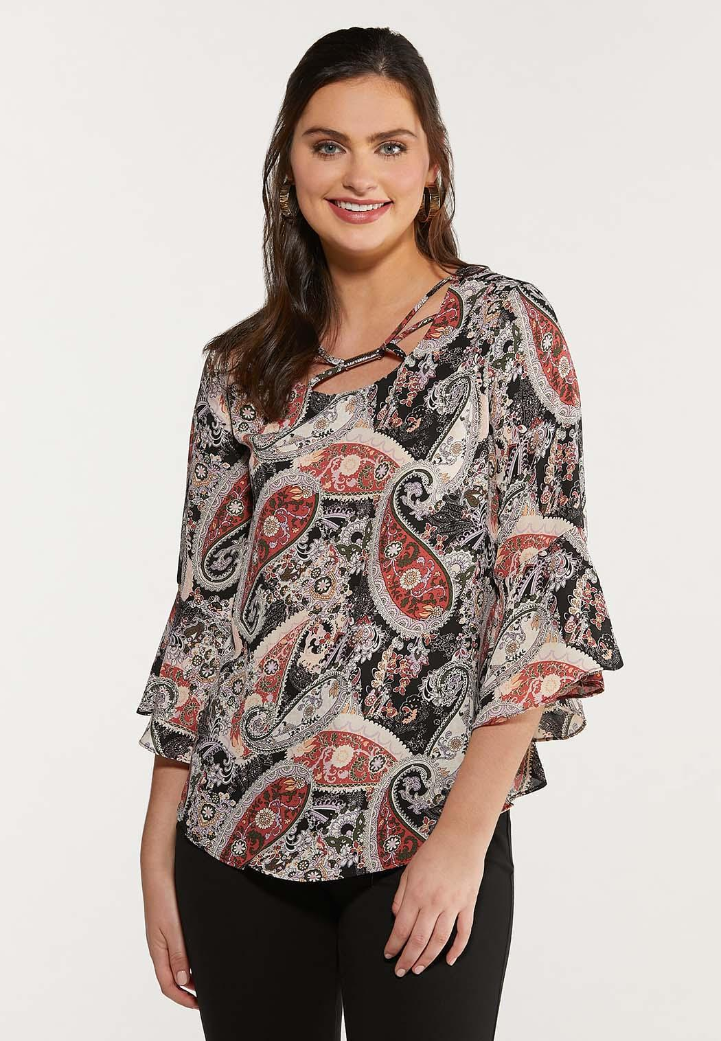 Plus Size Paisley Bell Sleeve Top