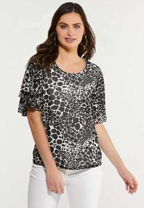Plus Size Animal Flutter Sleeve Top