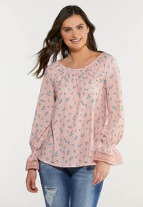 Plus Size Floral Lacy Cuff Top