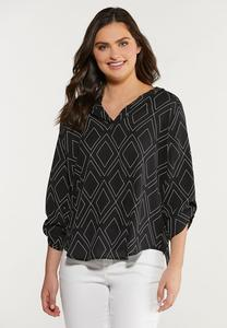 Plus Size Geo Diamond Print Top