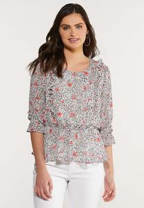 Plus Size Wild Petal Peplum Top