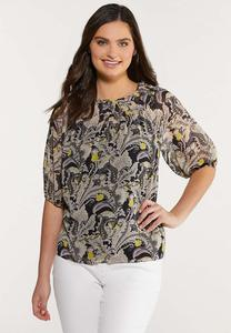Plus Size Paisley Smocked Neck Top