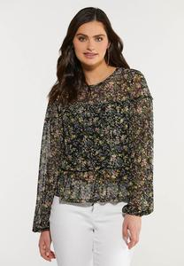 Plus Size Sheer Floral Peplum Top