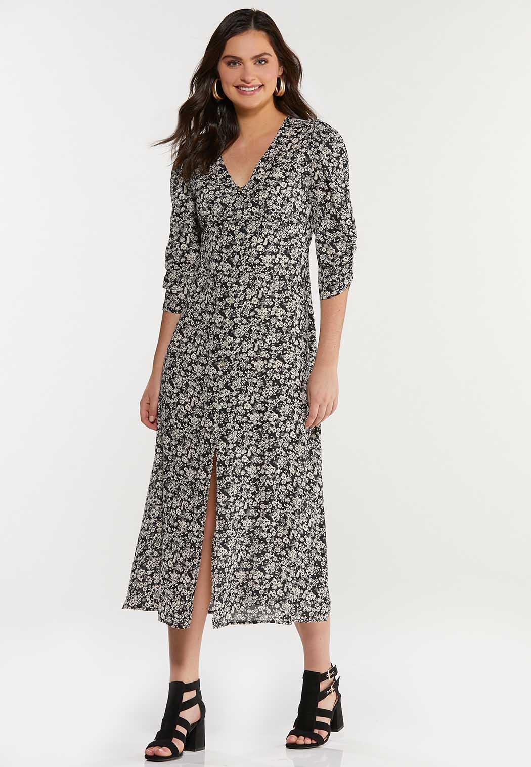 Plus Size Floral Empire Midi Dress