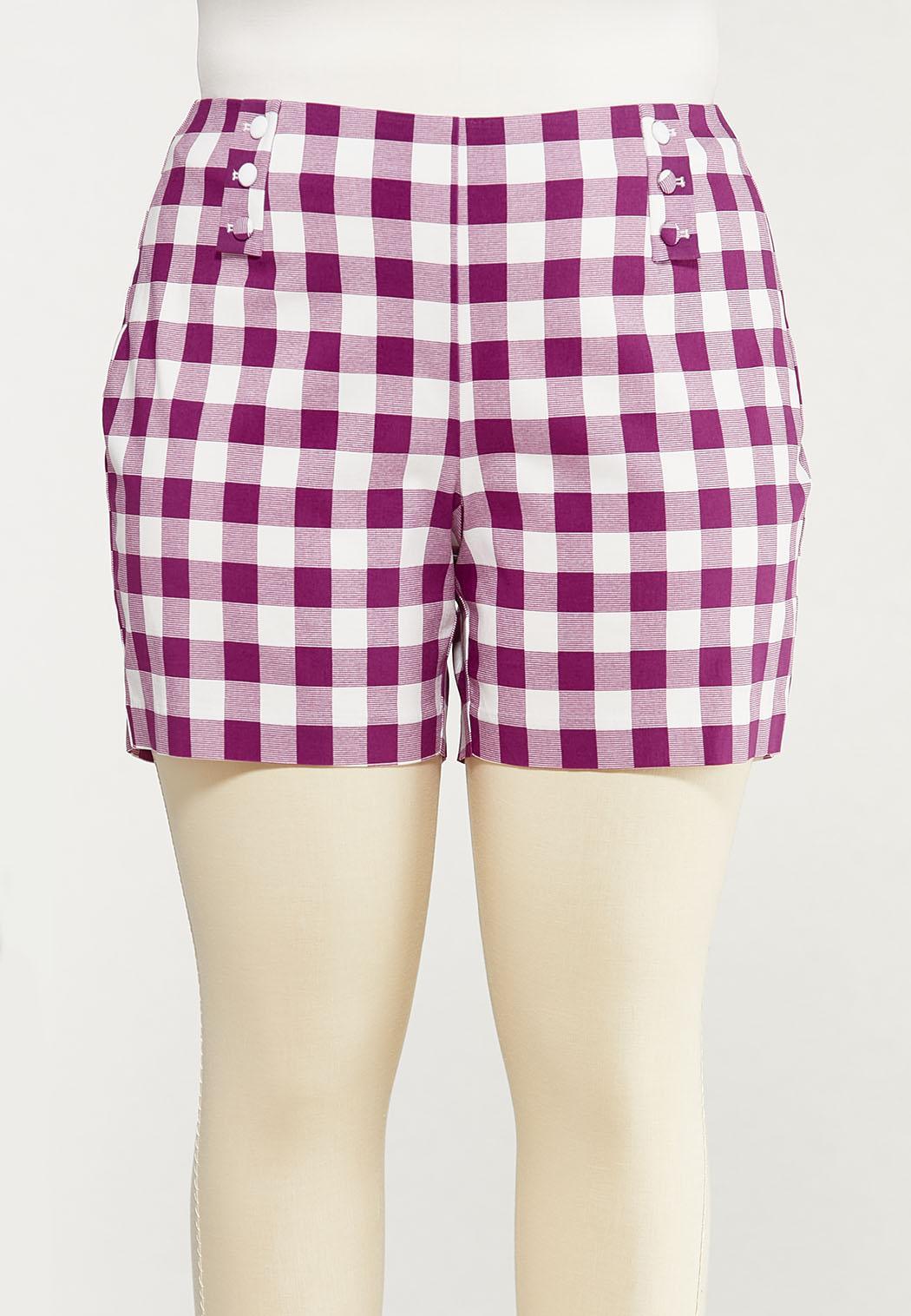Plus Size Gingham Bengaline Shorts
