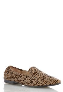 Wide Width Faux Suede Cheetah Flats