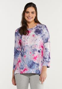 Plus Size Tie Dye Spandex Top
