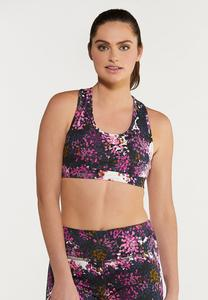 Plus Size Grape Floral Sports Bra