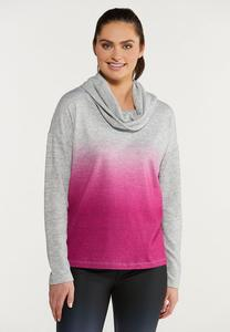 Plus Size Raspberry Dye Cowl Neck Top