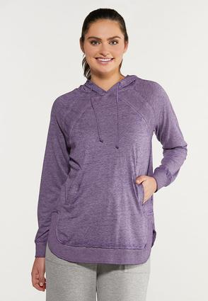 Plus Size Purple Faded Wash Hoodie