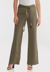 Petite Textured Self-Tie Pants