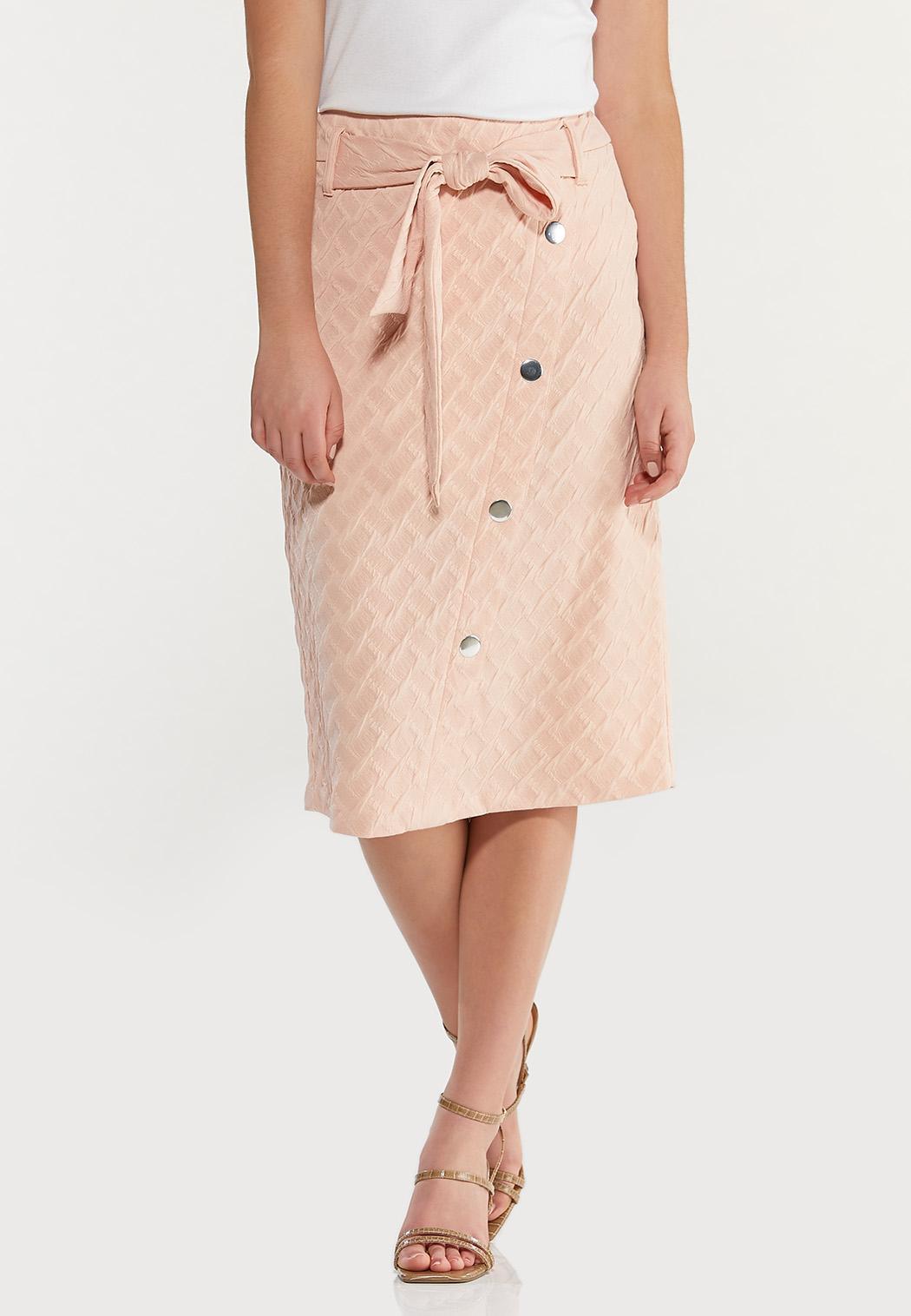 Textured Blush Pencil Skirt