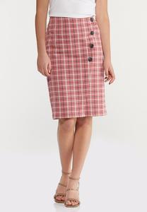 Plus Size Rose Plaid Pencil Skirt