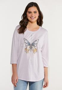 Plus Size Butterfly Burnwash Tee
