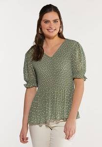 Green Dotted Top