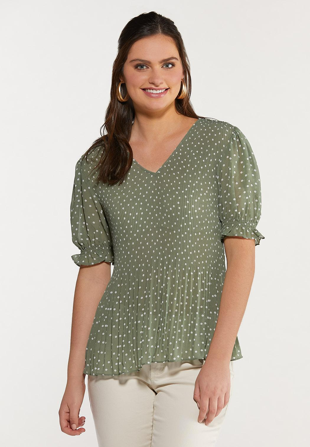 Plus Size Green Dotted Top