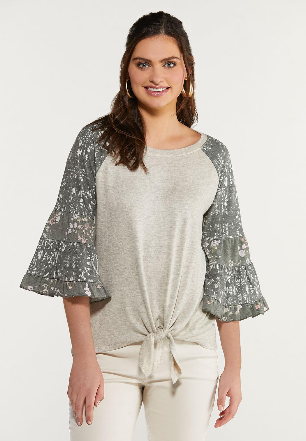 Printed Flutter Sleeve Top
