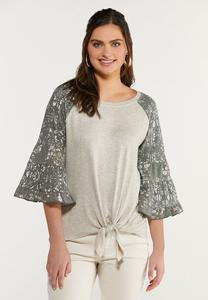 Plus Size Printed Flutter Sleeve Top