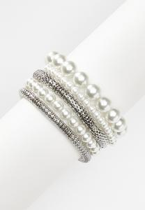 Pearl And Stretch Mesh Bracelet Set
