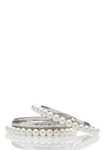 Pearl Bangle Bracelet Set