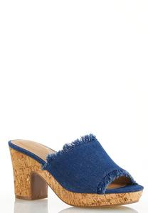 Frayed Denim Heeled Sandals