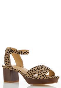 Cheetah Suede Platform Sandals