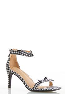 Gingham Knot Heeled Sandals