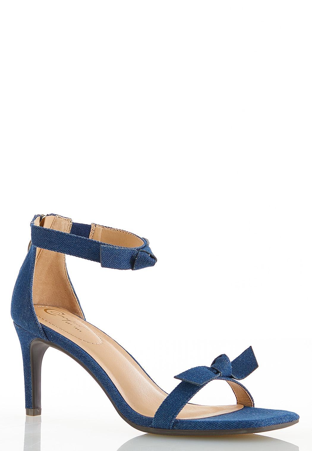Denim Knot Heeled Sandals