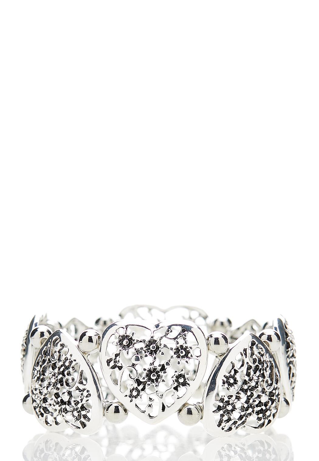 Floral Heart Stretch Bracelet