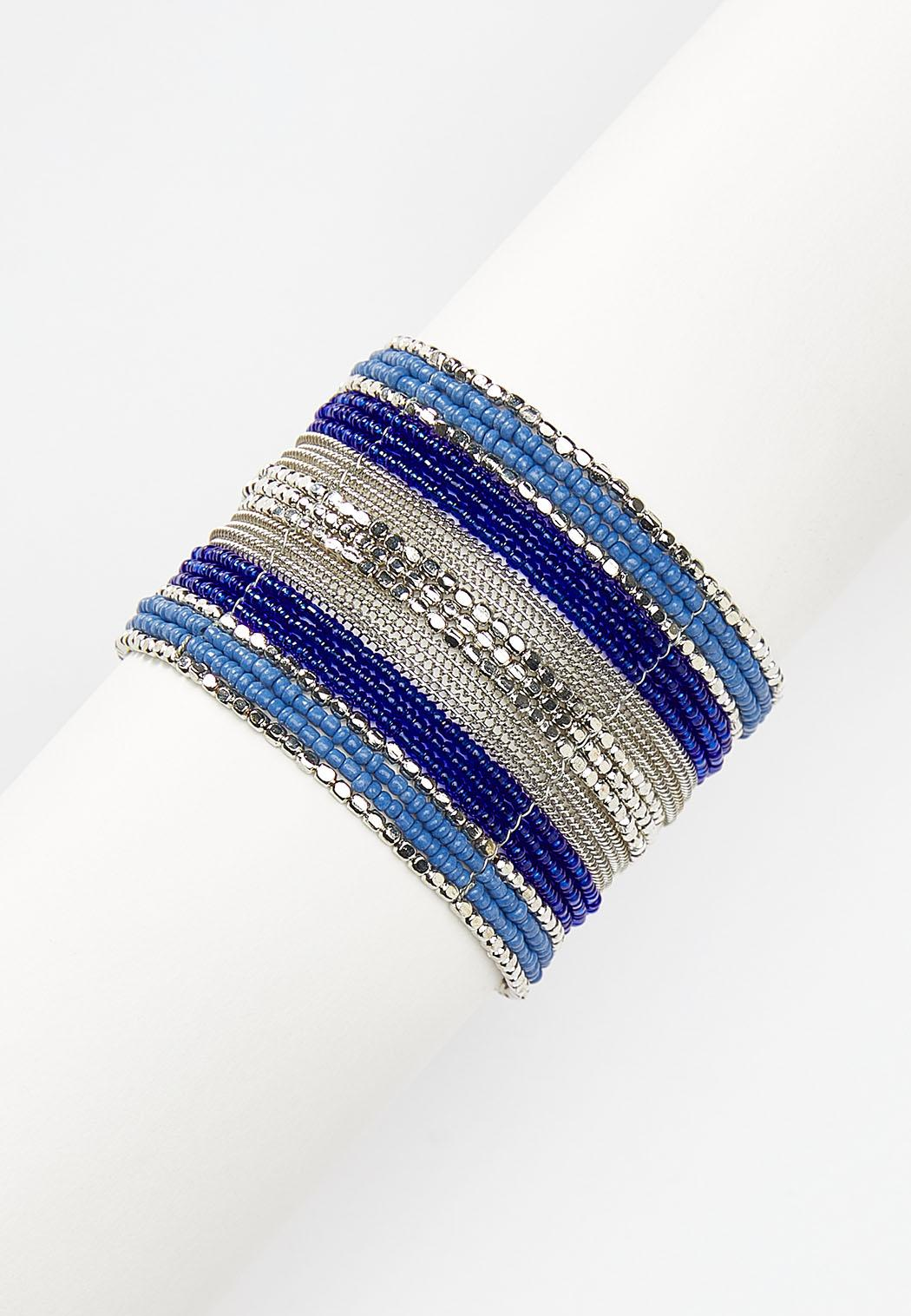 Blue Seed Bead Cuff Bracelet