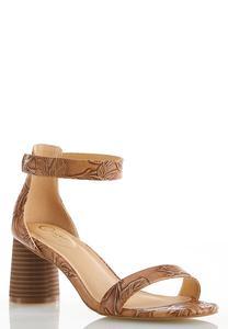 Tooled Cylinder Heel Sandals
