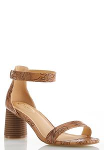 Tooled Cylinder Heel Sandals