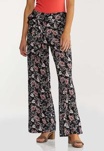 Petite Fun Floral Wide Leg Pants