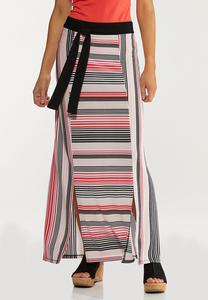 Melon Stripe Maxi Skirt