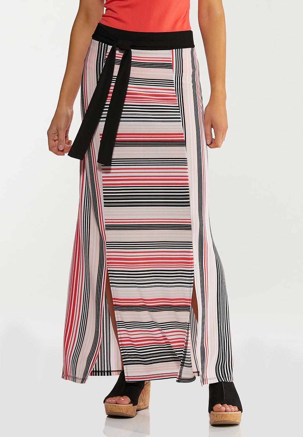 Petite Melon Stripe Maxi Skirt