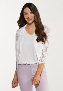 Plus Size Cropped Lace Jacket