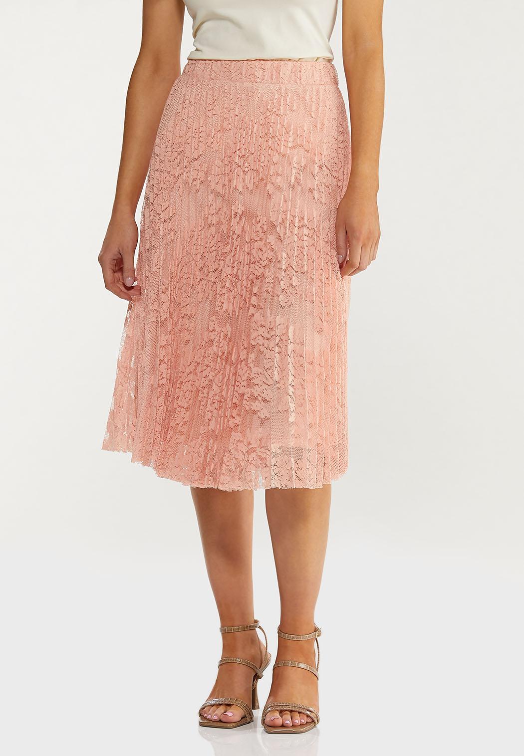 Plus Size Pleated Lace Midi Skirt