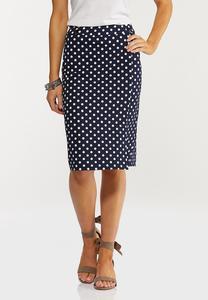 Plus Size Navy Polka Dot Pencil Skirt