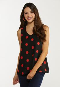 Plus Size Red Polka Dot Tank